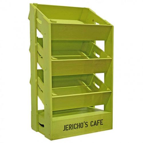 3 Angled Half Crate Shelf Unit   Lime Green