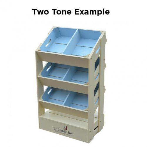 3 Angled Half Crate Shelf Unit   Two Tone