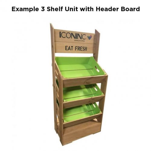 3 Angled Half Crate Shelf Unit   Two Tone with Header Board