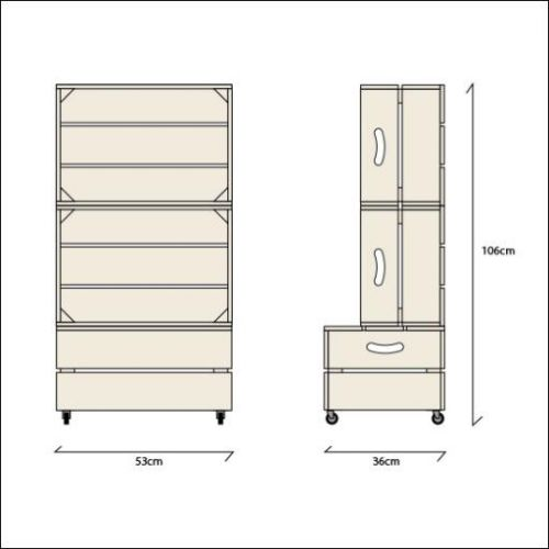 Large Two Crate Shelving Unit | Dimensions