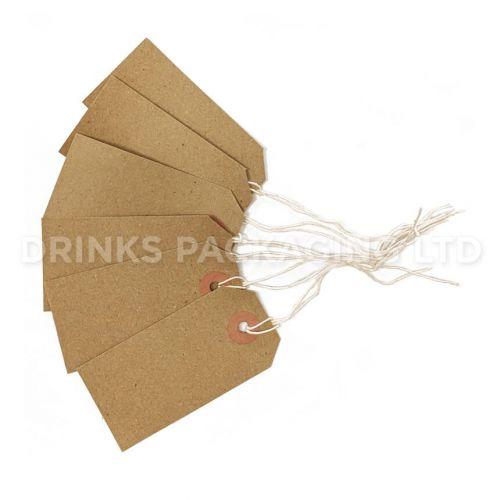 Pack of 100 Medium Tags - Individually Strung Brown Kraft Paper Gift Tags (96mm x 48mm)   Beer Box Shop