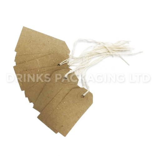 Pack of 100 Small Tags - Individually Strung Brown Kraft Paper Gift Tags (70mm x 35mm)   Beer Box Shop