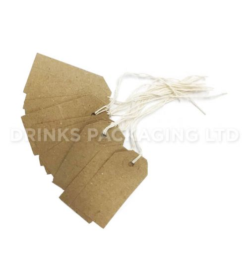 Pack of 100 Small Tags - Individually Strung Brown Kraft Paper Gift Tags (70mm x 35mm) | Beer Box Shop